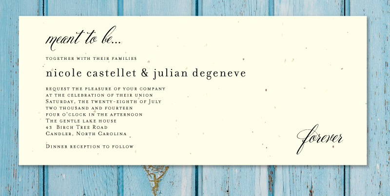 Plantable Wedding Invitations On Seeded Paper Beginnings