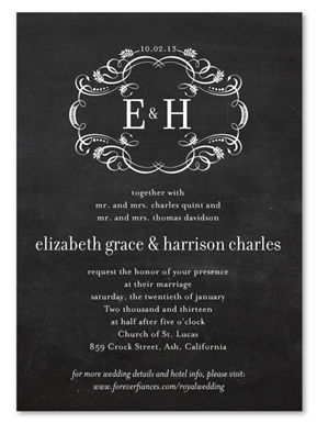 royal wedding invitations on chalkboard invitations