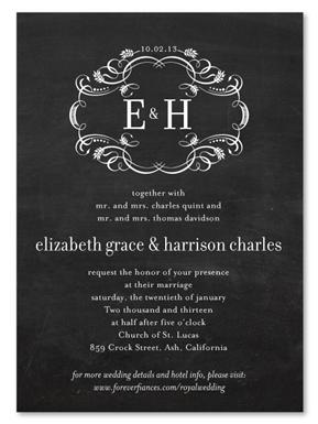 royal wedding invitations on chalkboard invitations