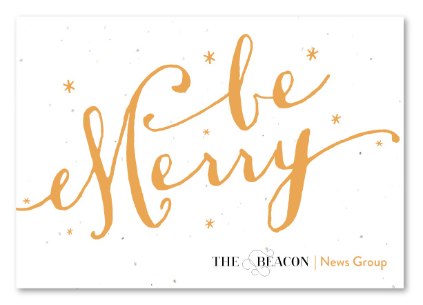 hand-written gold holiday greeting cards on seeded paper