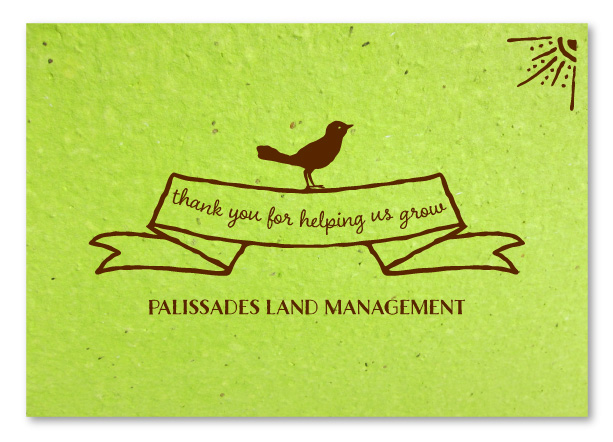 seeded paper business thank you cards green bird