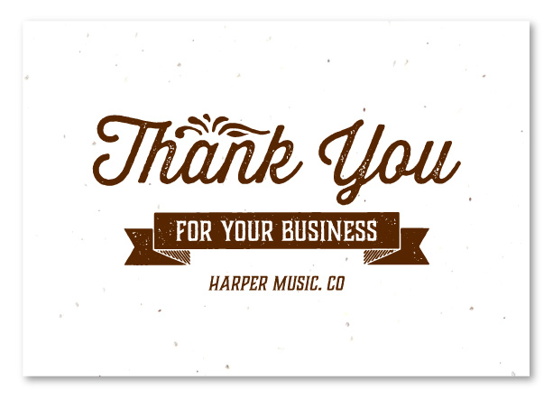 Business Thank You Cards On Seeded Paper ~ House Blend By Green