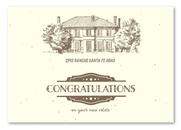 Real Estate New Home Congratulations On Seeded Paper The Estate By