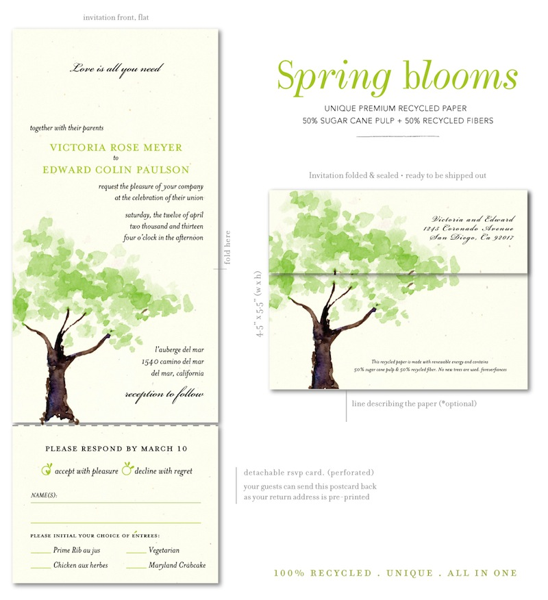 Watercolor Tree wedding invitations