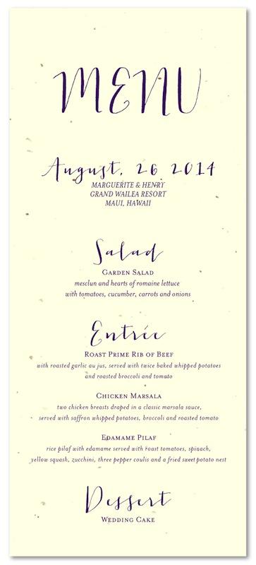 Unique wedding menus on seeded paper organic by foreverfiances organic wedding menus junglespirit Choice Image