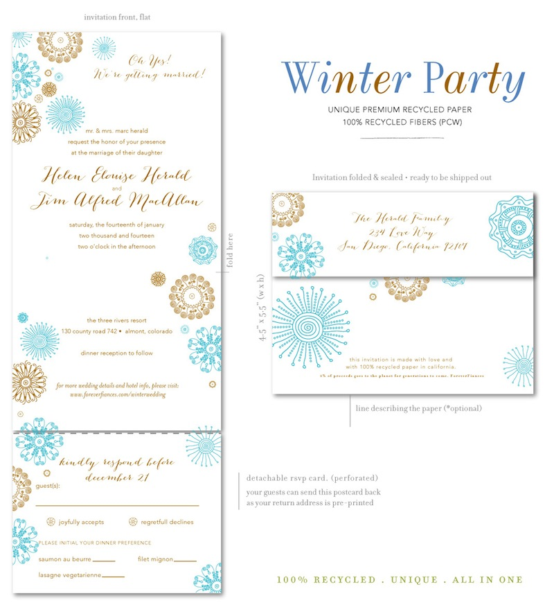 Winter Party wedding invitations