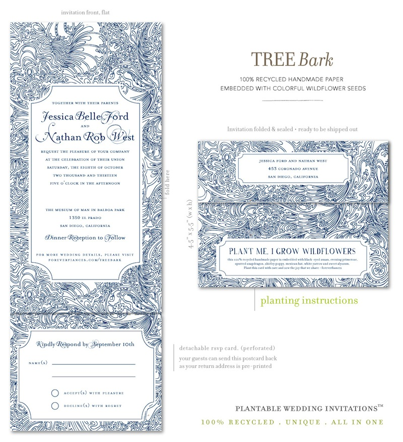 All in One Wedding invitations Tree Bark (blue and white)