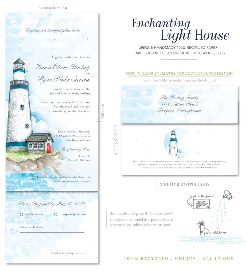 Beach Wedding invitations Light House