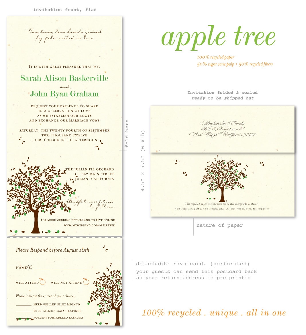 Send n Sealed Wedding invitations on 100% Recycled Paper - Apple ...