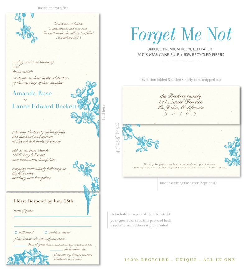 seal and send invitations on  recycled paper  forget me not, Wedding invitations