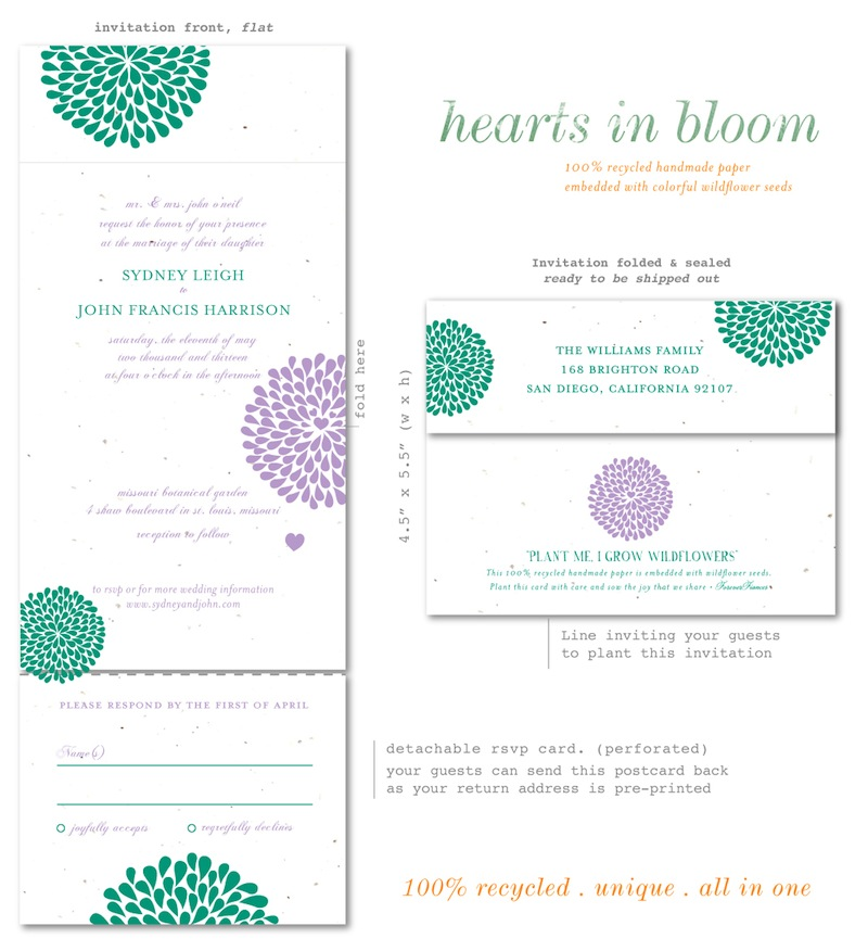 Hearts in Bloom Wedding Invitations