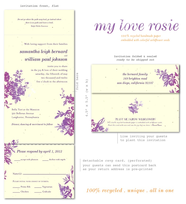Plantable Paper wedding invitations