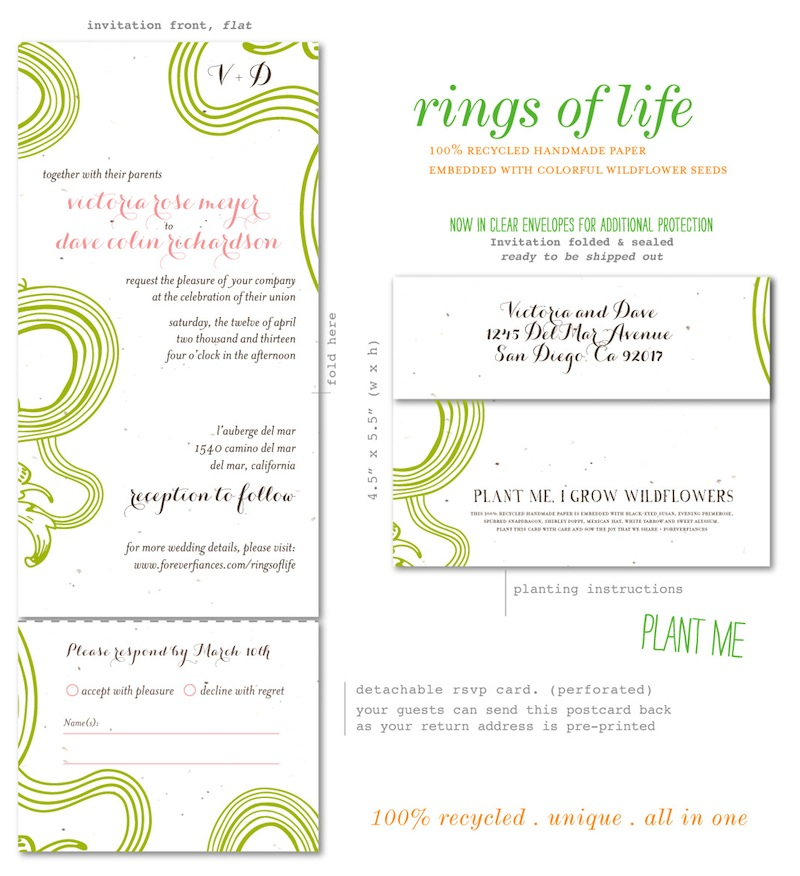 All in one wedding invitations Rings of Life