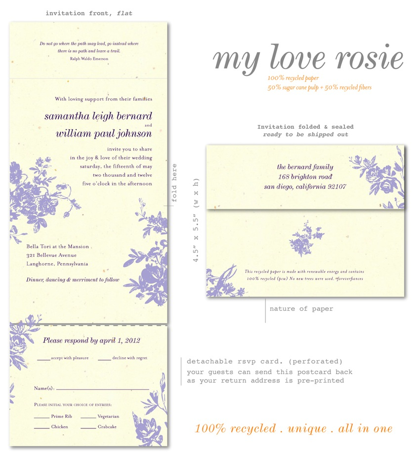 All in One Roses Wedding Invitations - Purple