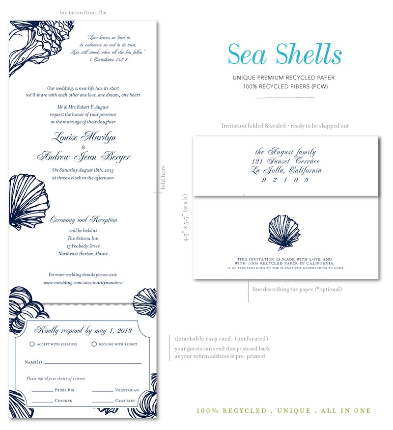 Recycled Wedding Invitations Sea Shells