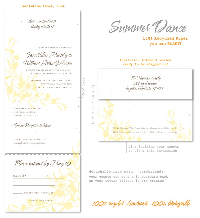 Weding invitations Summer Dance All in One
