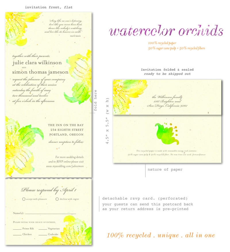 Yellow Orchids Wedding Invitations