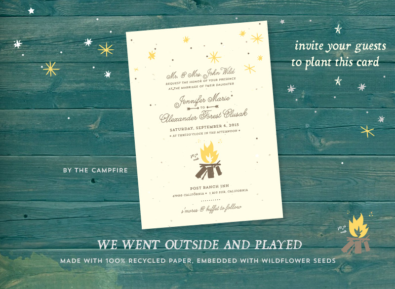 Outdoor Wedding Invitation Wording: Unique Outdoor Wedding Invitations On Plantable Paper