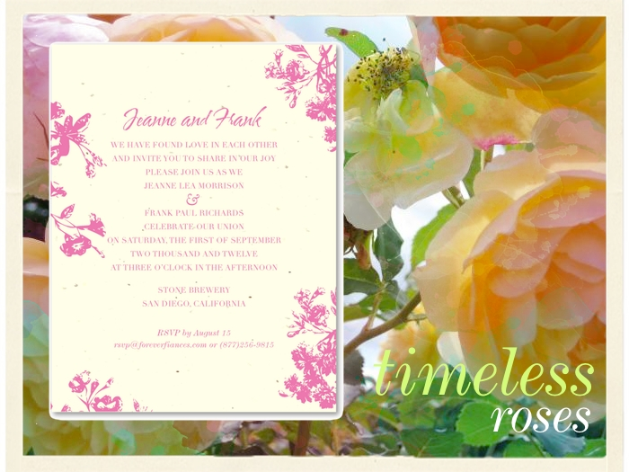 Commitment Ceremony Invitations on Seeded Paper Amsterdams Roses