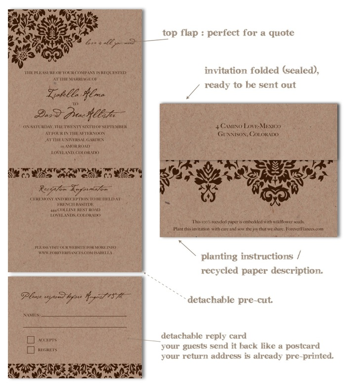 100% recycled wedding invitations