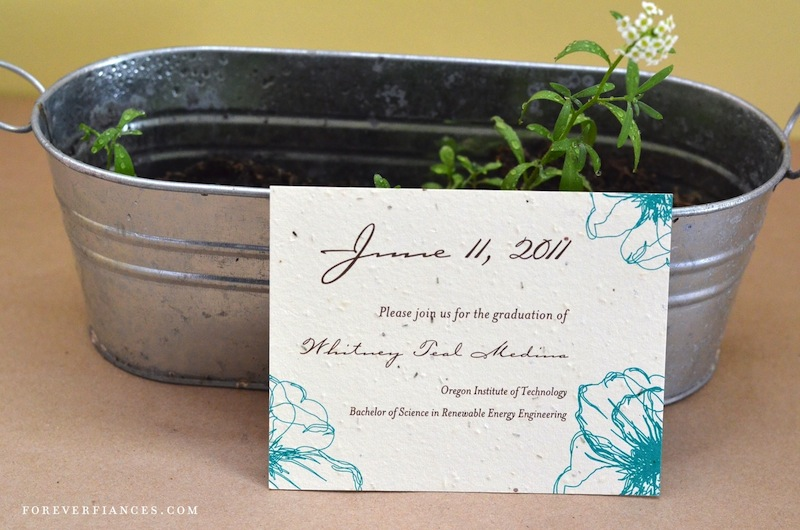 Drawn Poppy Graduation invitations on seeded paper (plantable)