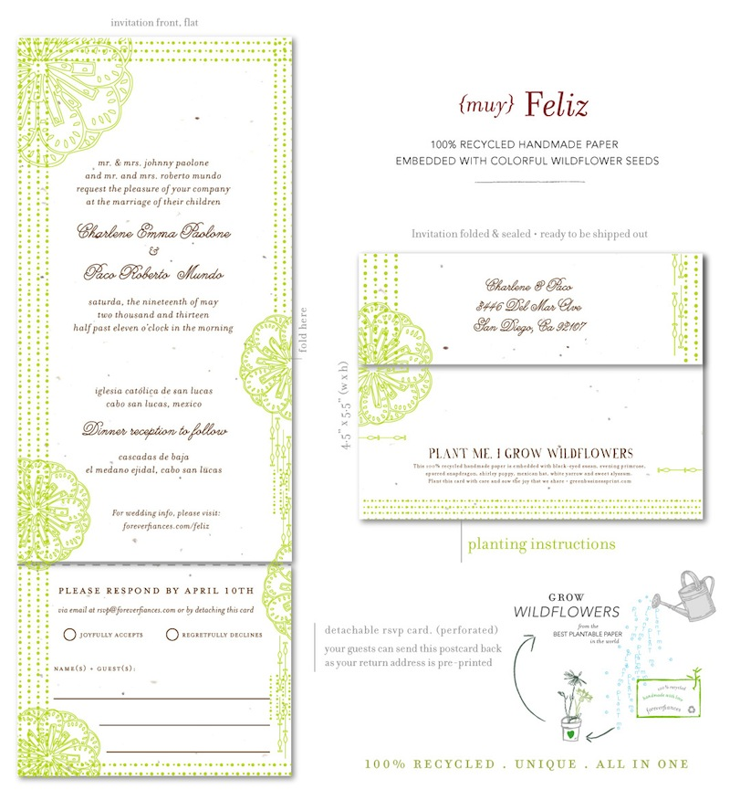 Spanish Wedding Invitations on Seeds Paper ~ Feliz by ...