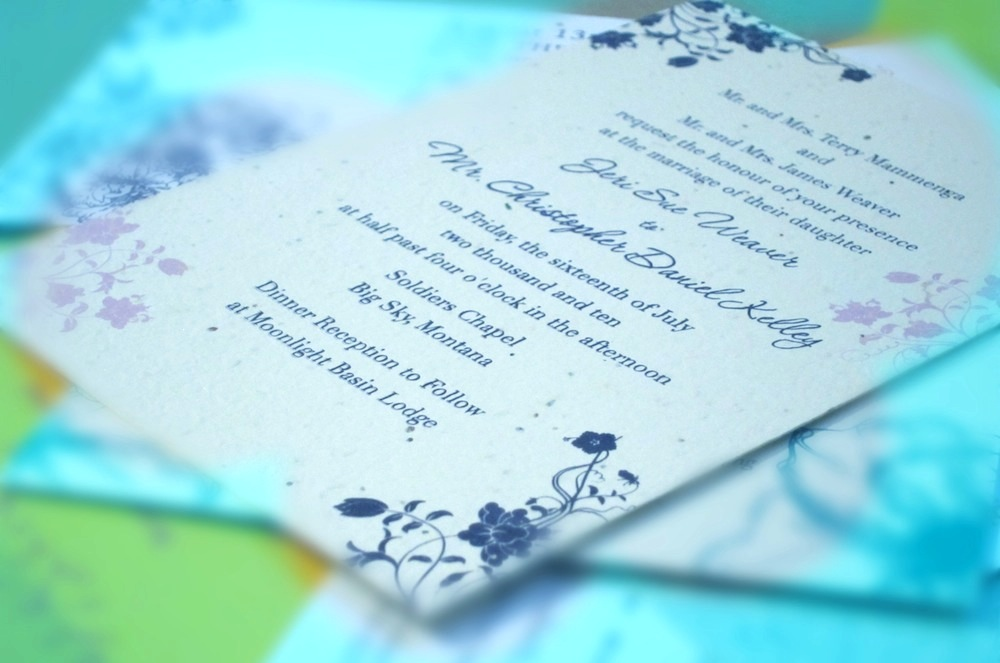 Garden Wedding Stationery Deep Purple Recycled Paper