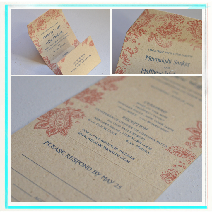 Indian Smile Wedding Invitations (Brown, Red, Blue)