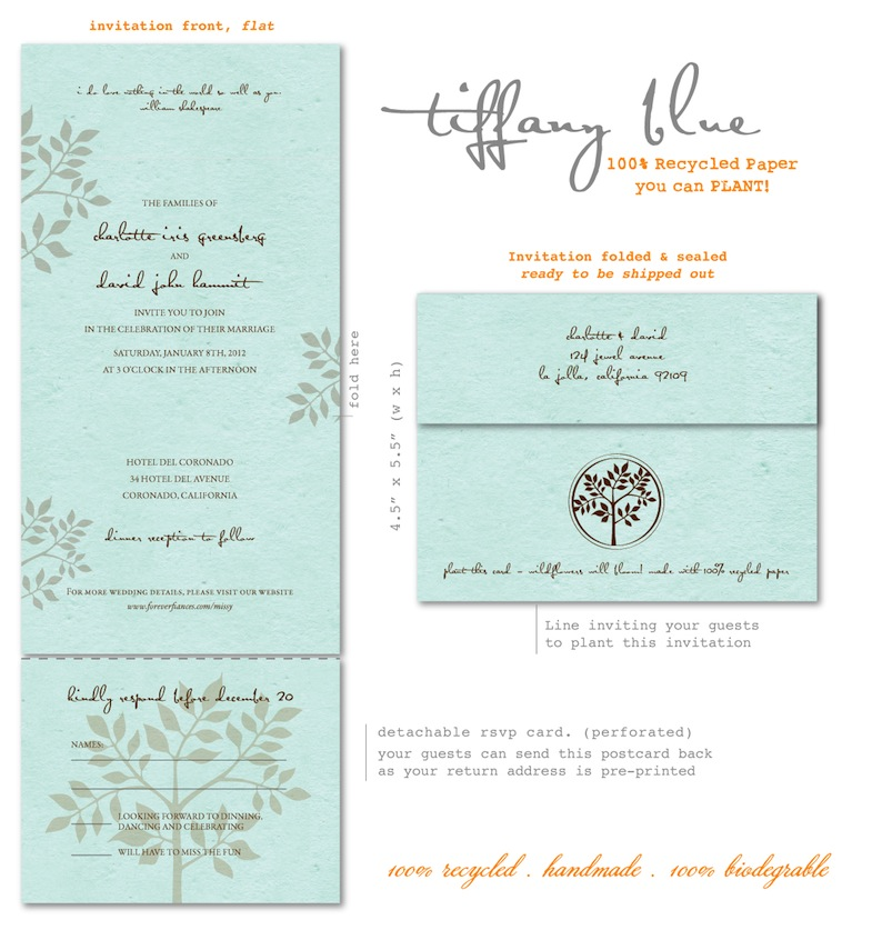 Tiffany Blue Wedding Invitations - Shalom (seeded paper, plantable ...