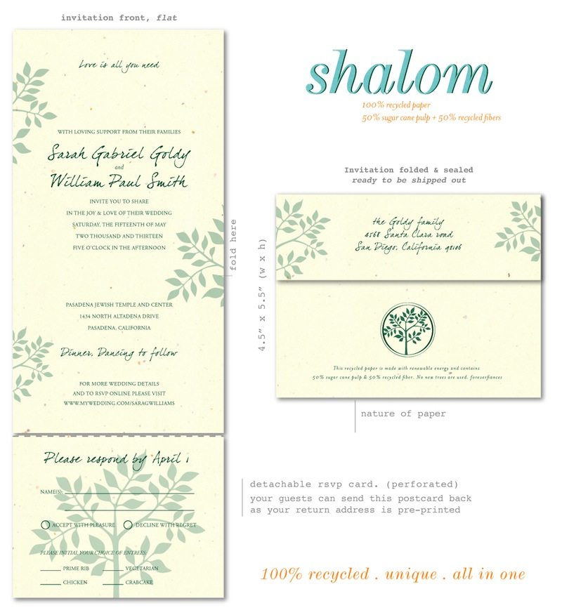 Recycled paper wedding invitaitons
