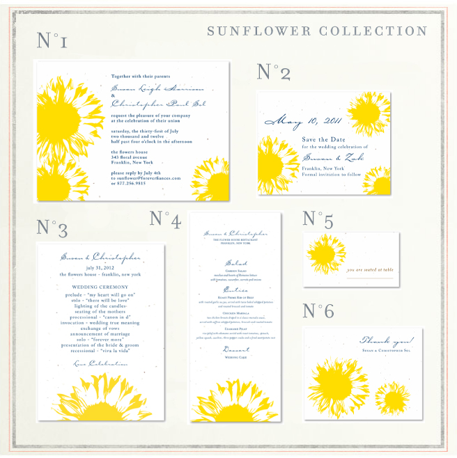 Sunflower Wedding Programs On Seeded Paper ForeverFiances Weddings - Sunflower wedding invitations templates